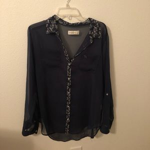 Abercrombie and Fitch Navy blue sheer top